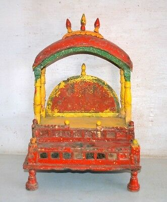 18th C Ancient Antique India Wood Hand Carved Painted Hindu Religious Temple