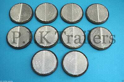 10 x White Clear Front Self Adhesive Stick on 60mm Round Reflectors _ Trailer