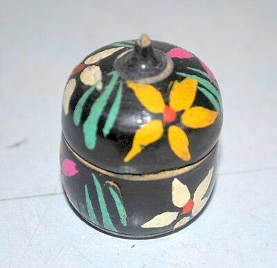 Old Antique Wooden Hand Crafted Tikka Box Laquer Painted Kumkum Box