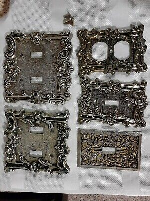1967 Vintage American Tack & Hardware Brass Light Switch Plate Covers Rose F/S!