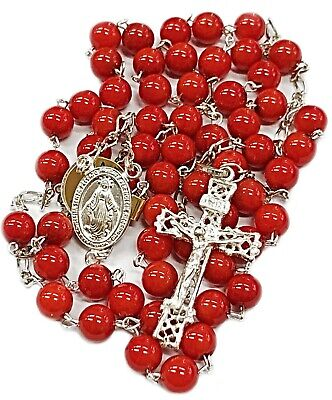 Our Lady Miraculous Medal Sterling Silver 925 Red Coral Beads Necklace Rosary