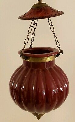 Vintage Asian Red Glass Hanging Lantern Urn Bell Jar Candle Holder