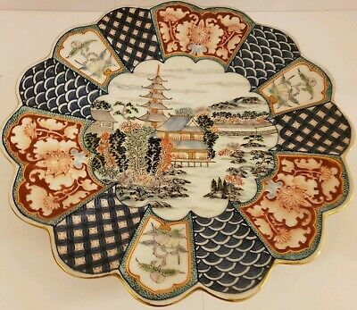Antique Signed Japanese Hand Painted Decorative Porcelain Ceramic Charger Plate