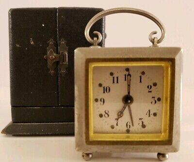 Antique 1920's Swiss Nickel Carriage Clock Wind-Up Travel Alarm clock with Case