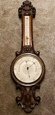 Antique English Victorian Ornate Carved Walnut Wall Barometer J.Hicks London