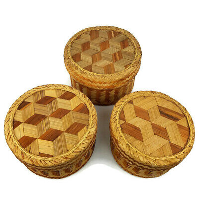 Vintage Nesting Baskets with Lids Set Of 3 Stack-able Rattan Organization Large