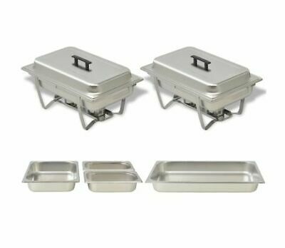 2 Piece Chafing Dish Set Stainless Steel Food Warmer Hot Tray Buffet Server