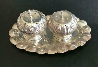 THANKSGIVING Rare Vintage Sterling Silver Pumpkin Salt and Pepper Shakers W/Ster