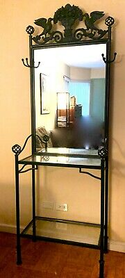Vintage French Provincial Art Deco Inspired Mirror Wrought Iron Hall Tree
