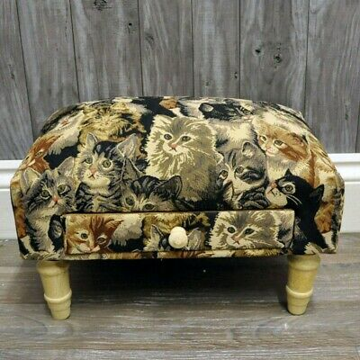 Cats Tapestry Fabric Footstool with Drawer Cat Lover Home Decor Ornament