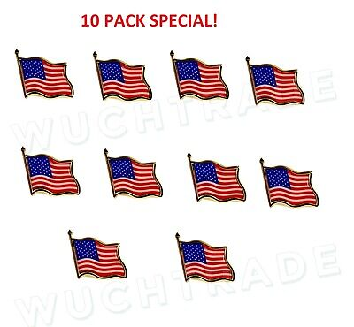 American Flag Pin -The Stars and Stripes - 10 pack
