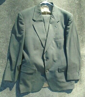 Men's Evan Picone fine taupe plaid wool suit double breasted  size 44 R