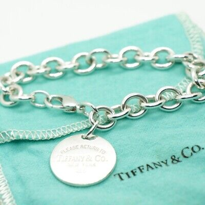 Authentic Tiffany Co. .925 Sterling Silver Chain Bracelet Blank Round Tag