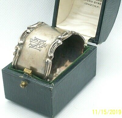 Heavy Vintage to Antique English Mappin & Webb Cased Sterling Silver Napkin Ring