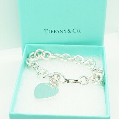 Authentic Tiffany Co. .925 Sterling Silver Chain Bracelet Blank Heart Tag