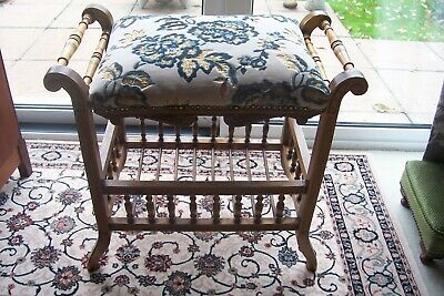 Antique Walnut Piano Stool with Adjustable Seat Height