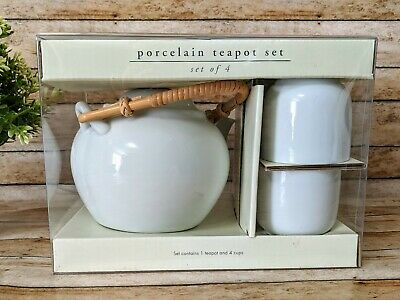 NEW Pier 1 Imports White Teapot Set Pot & 4 Cups New In Pack