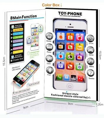 Kids Toy Phone New Educational English Learning Toy Mobile Phone Black/White