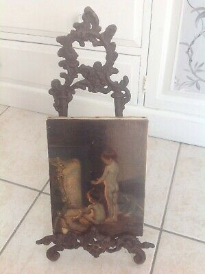 Antique small painting of After The Bath Painting mounted on cast iron easel