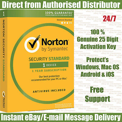 Norton Security Standard 2020 : 1 Device - 1 Year KEY Instant eBay Message