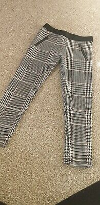 Girls 4-5 Years Brand New With Tags Black Check Sparkle Nutmeg Trousers With Zip