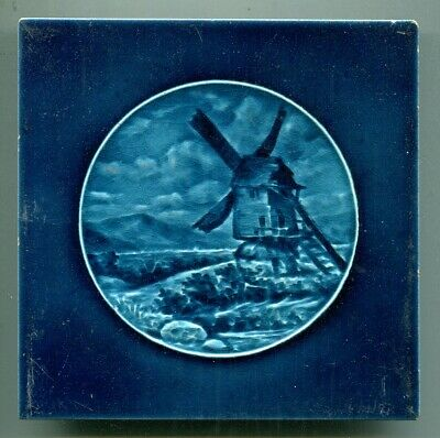 """Intaglio moulded 6""""sq tile depicting a windmill by Burmantofts, c1900"""