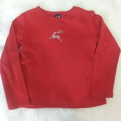 Gap Girls Size Small Red Christmas Reindeer Top