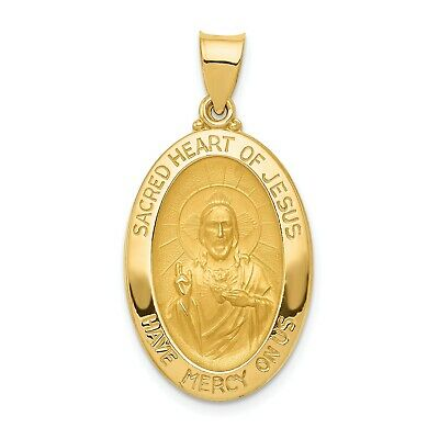 14k Yellow Gold Sacred Heart of Jesus Medal Pendant (1INx0.6IN)