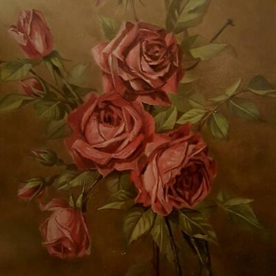 Antique Old World Roses Framed Painting~Shades of Burgundy and Deep Olive Green