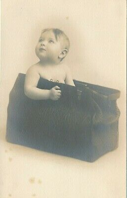 O13 Vintage B&W Photo Baby Sitting in Antique Doctors Medical Bag 4x6