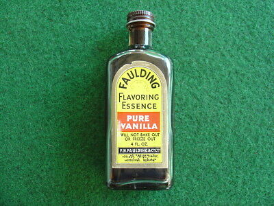 Vintage 60's Faulding's Vanilla essence bottle/retro/packaging/grocery