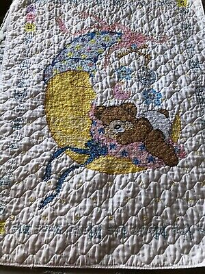 Hand Embroidered I See the Moon Baby Quilt