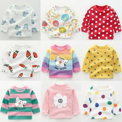 Toddler Kids Baby Girls Boys Long Sleeves Casual T-shirt Top Cotton Tee Shirts