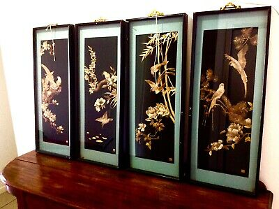 Set of 4 Antique Chinese intricate hand carved Artworks. The Four Seasons. Large