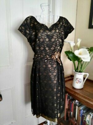 VINTAGE 1950/60's COCKTAIL DRESS GOLD WITH BLACK LACE OVERLAY BY MAXINE