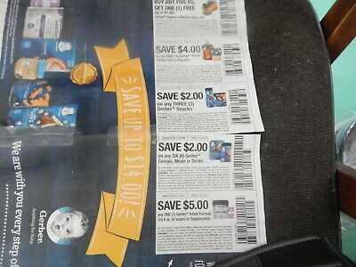 GERBER BABY FOOD COUPONS exp 12/15/2019  (5 coupons  in all.) GREAT SAVINGS!!!!!