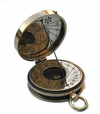 Stanley London Brass nautical Polished Pocket Sundial Compass - SUNDIAL compass