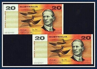 Consecutive Pair $20 Paper Banknotes 1979 Knight/Stone Gothic side XXS-560460/61