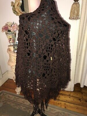 Hand Crochet Shawl With Fringe - Brown