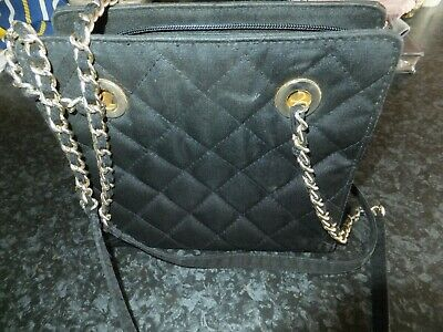 Ladies M&S, St Michael, retro / vintage handbag, Black fabric, chain straps.