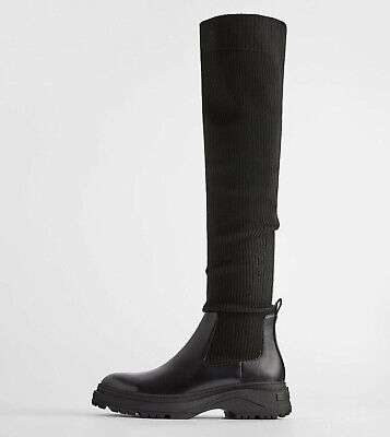 ZARA WOMAN FLAT Sock Style Ankle Boots With Pearls Black Ref