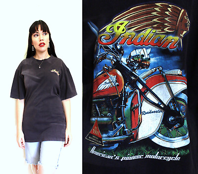 INDIAN MOTORCYCLE T SHIRT bt8 Vintage Faded 80s Motor Bike Large Mens Tshirt 90s