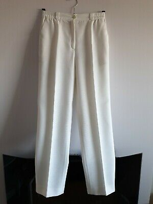 Vintage Priess Ladies White Trousers Polyester/Viscose mixed material uk size 8.