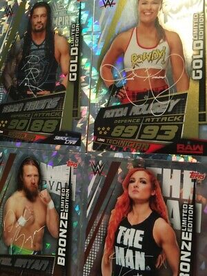 2019 WWE Slam Attax Universe Cards - RAW SMACKDOWN NXT LEGENDS CHAMPIONS LIMITED