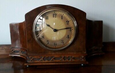 Antique Burr walnut mantel clock working Order