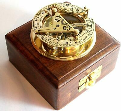 Brass ANTIQUE Sundial Compass-Solid Brass Pocket Sundial West London W/WooD Box