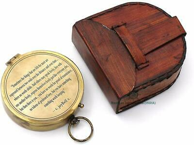 Romantic Engraved Solid Brass Antique Nautical Compass with Leather Case