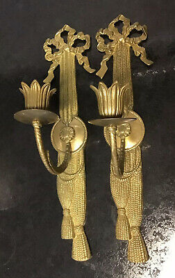 """PAIR OF 2 13"""" VINTAGE SWAG & RIBBON Brass Neoclassical Ornate Candle Wall Sconce"""