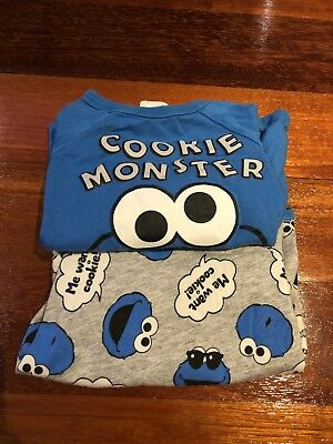 H&M Cookie Monster Baby T Shirts (x2) Size 00