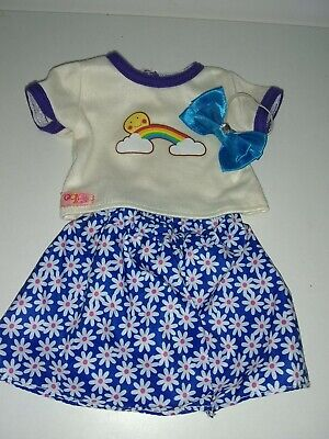 Our Generation Dolls Clothes Outfit Summertime,T-Shirt Skirt Hair Bow